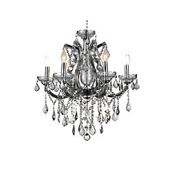 CWI Lighting Maria Theresa 24-inch 6 Light Chandelier with Chrome Finish