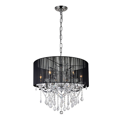 Maria Theresa 27 inch 6 Light Chandelier with Chrome Finish