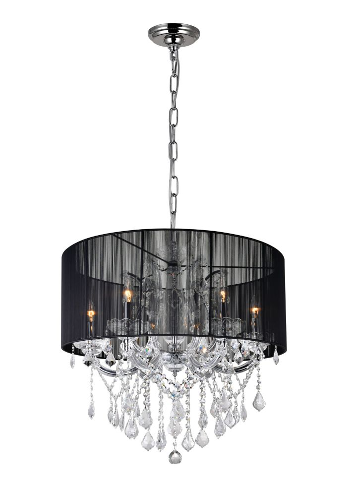CWI Lighting Maria Theresa 27 inch 6 Light Chandelier with Chrome Finish