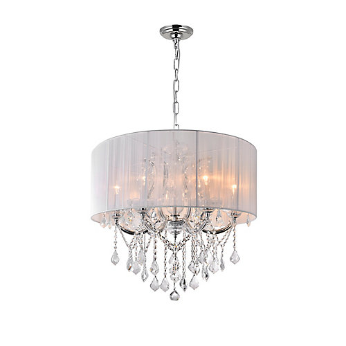 Maria Theresa 27-inch 6 Light Chandelier with Chrome Finish