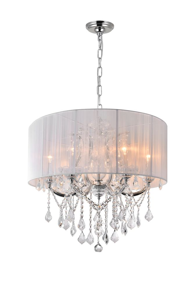 CWI Lighting Maria Theresa 27-inch 6 Light Chandelier with Chrome Finish