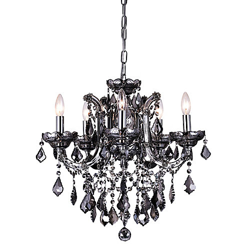 Riley 22-inch 5 Light Chandelier with Smoke Finish