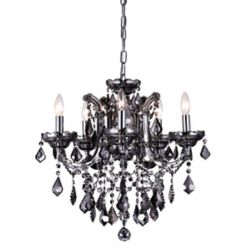 CWI Lighting Riley 22-inch 5 Light Chandelier with Smoke Finish