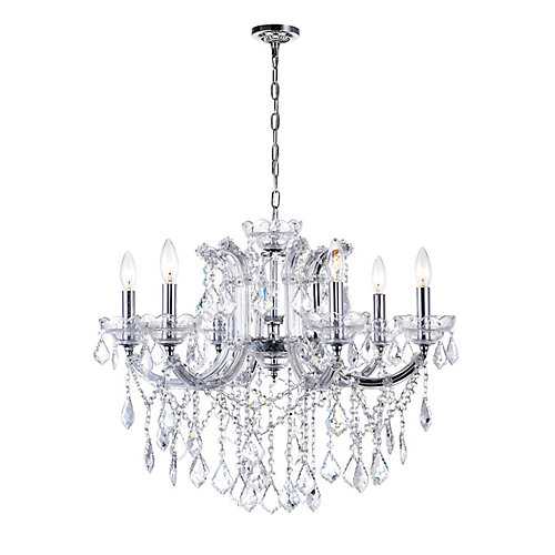 Riley 26 inch 6 Light Chandelier with Chrome Finish