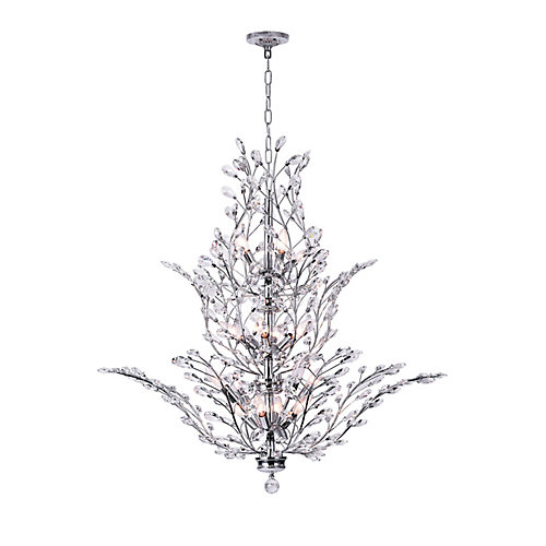 Ivy 40-inch 18 Light Chandelier with Chrome Finish