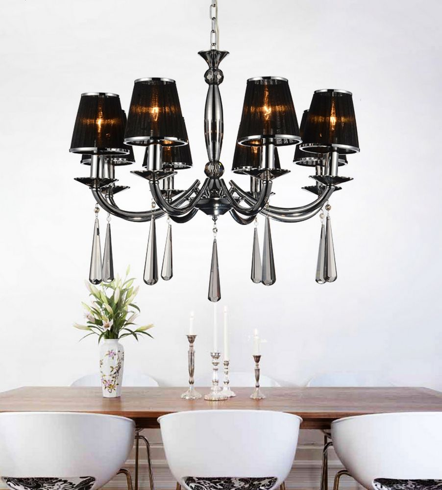 CWI Lighting Dina 28-inch 8 Light Chandelier with Chrome Finish