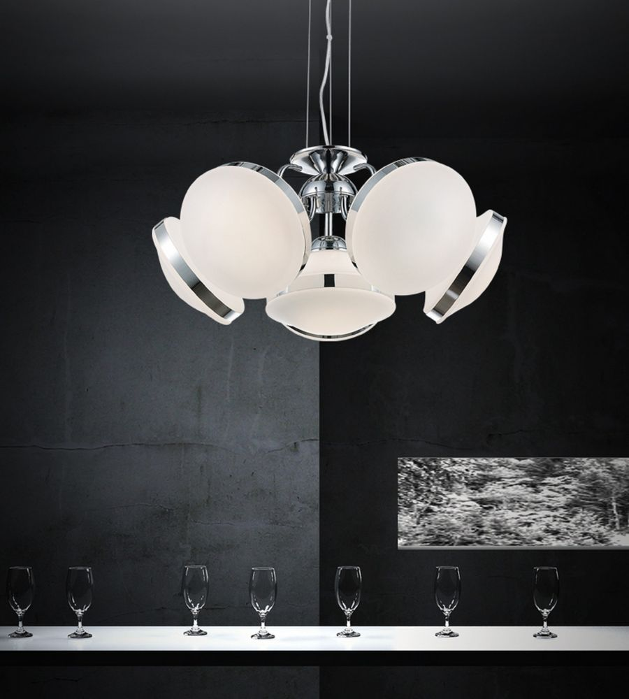Frosted 24-inch 6 Light Chandelier with Chrome Finish
