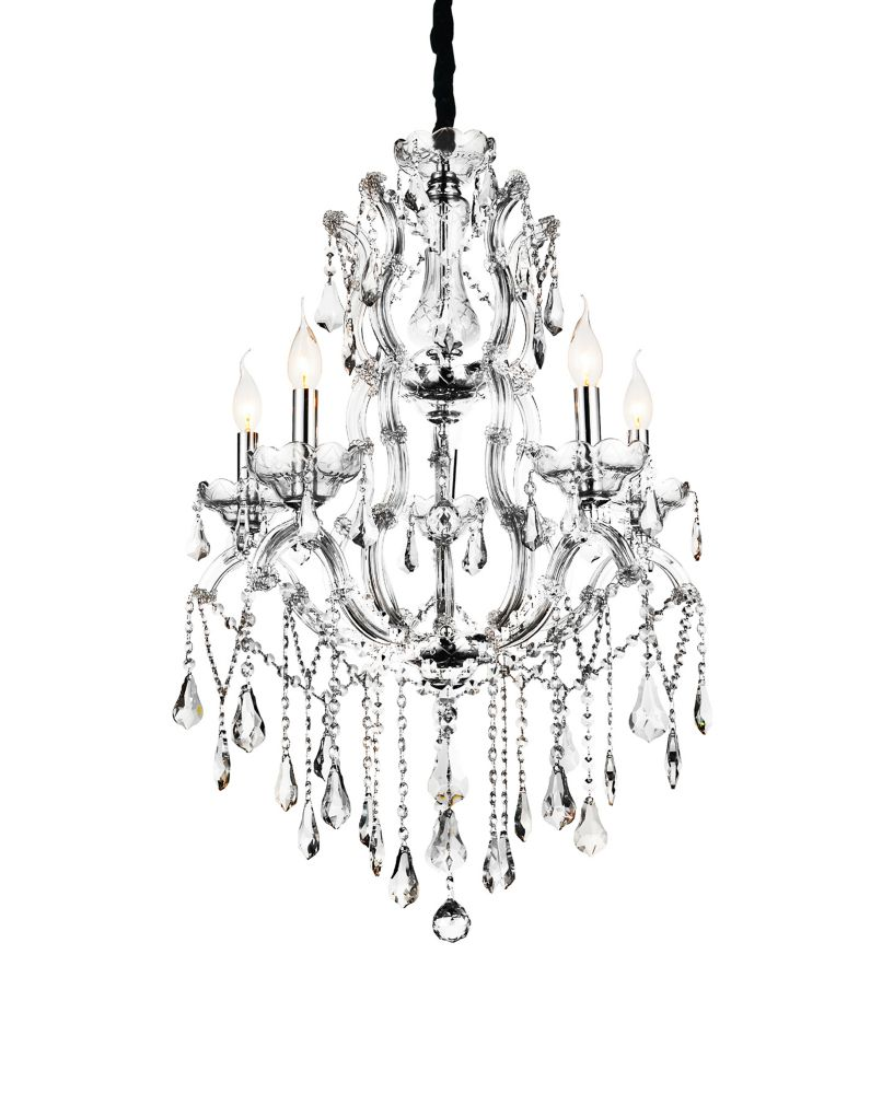 CWI Lighting Abby 32-inch 9 Light Chandelier with Chrome Finish