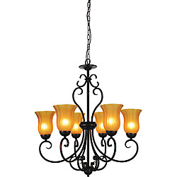 CWI Lighting Dulce 29-inch 6 Light Chandelier with Chocolate Finish