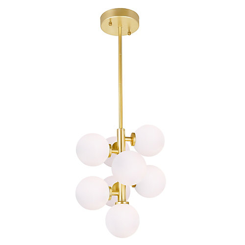 Arya 12-inch 8 Light Mini Pendant with Satin Gold Finish