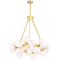 CWI Lighting Arya 26-inch 25 Light Chandelier with Satin Gold Finish
