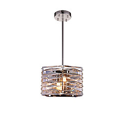 Squill 10-inch 3 Light Mini Pendant with Polished Nickel Finish