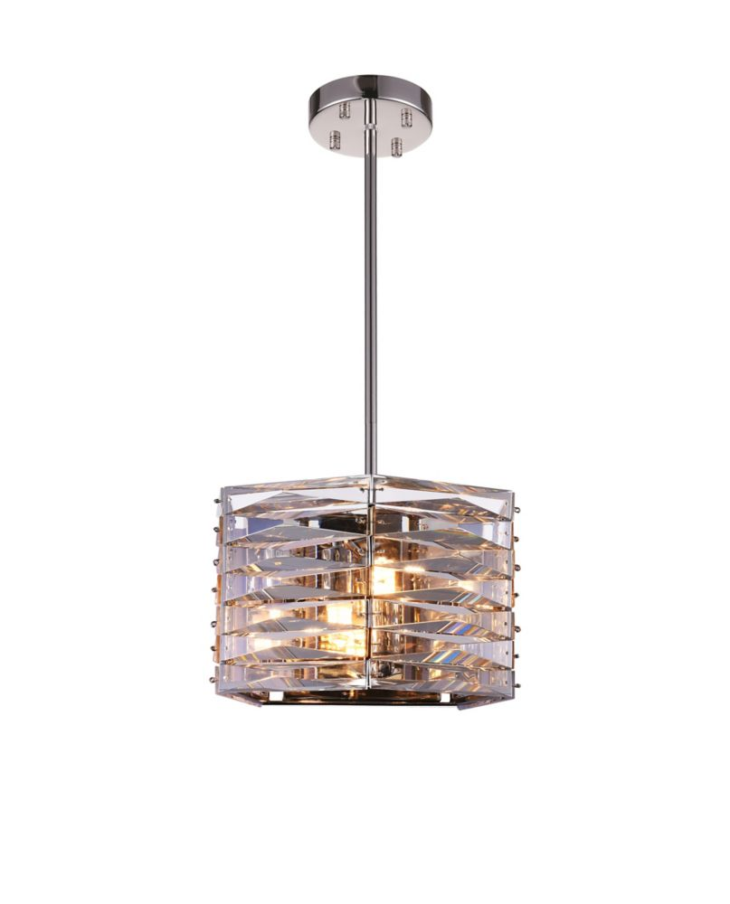 Squill 10-inch 3 Light Mini Pendant with Bright Nickel Finish