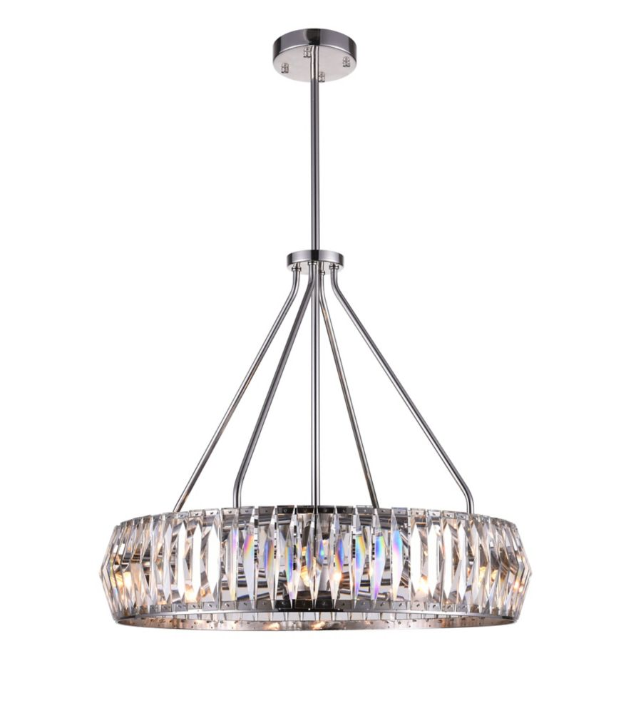 Squill 22-inch 8 Light Chandelier with Bright Nickel Finish