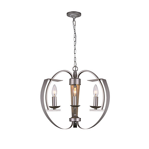 Verbena 16-inch 3 Light Chandelier with Pewter Finish