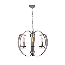 CWI Lighting Verbena 16-inch 3 Light Chandelier with Pewter Finish