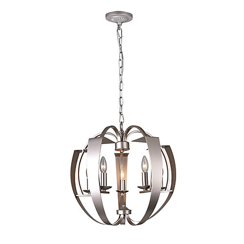 Verbena 21-inch 5 Light Chandelier with Pewter Finish