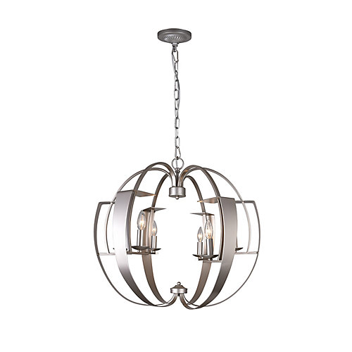 Verbena 26-inch 6 Light Chandelier with Pewter Finish