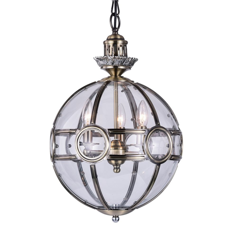 CWI Lighting Beas 20-inch 3 Light Chandelier with Antique Brass Finish