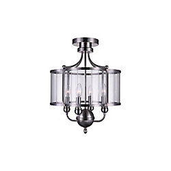CWI Lighting Renishaw 16-inch 4 Light Flush Mount with Satin Nickel Finish