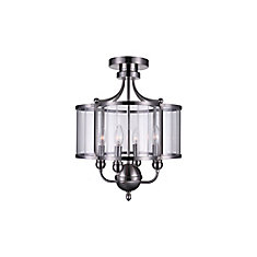 Renishaw 16-inch 4 Light Flush Mount with Satin Nickel Finish
