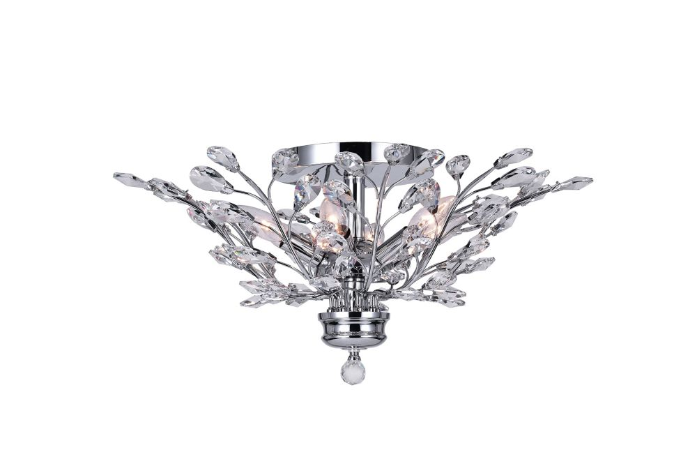 CWI Lighting Ivy 22-inch 6 Light Flush Mount with Chrome Finish