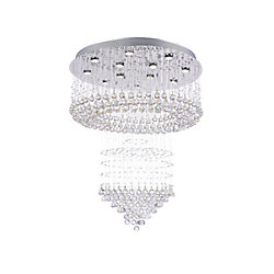 Waterfall 32-inch 12 Light Flush Mount with Chrome Finish