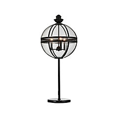 Lune 12-inch 3 Light Table Lamp with Sphere Shape and Black Finish