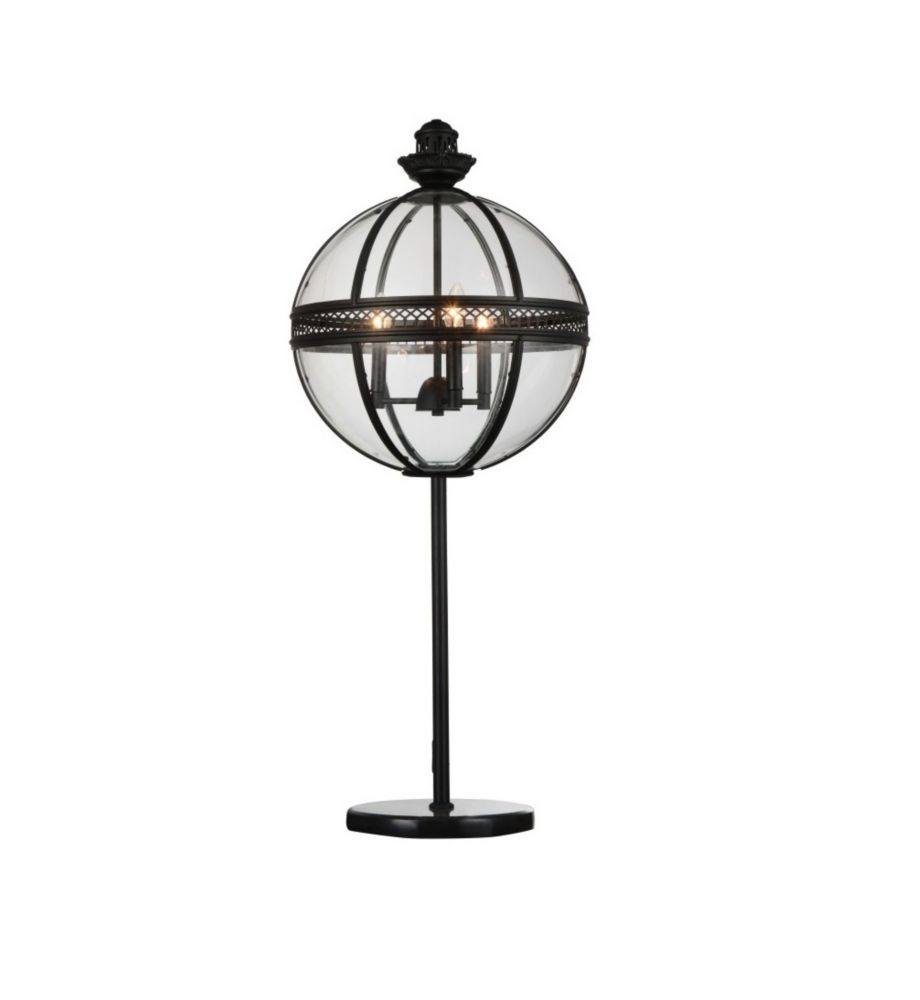 CWI Lighting Lune 12-inch 3 Light Table Lamp with Sphere Shape and Black Finish
