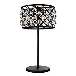 Renous 16-inch 4 Light Table Lamp with Black Finish and Clear Crystals