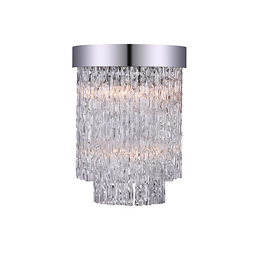 Carlotta 8-inch 2 Light Wall Sconce with Chrome Finish