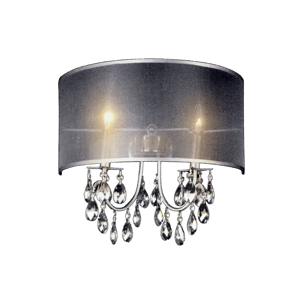 CWI Lighting Halo 7 inch 2 Light Wall Sconce with Chrome Finish