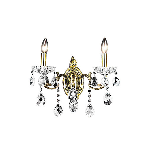 Flawless 10-inch 2 Light Wall Sconce with Antique Brass Finish