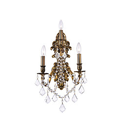 Brass 10-inch 3 Light Wall Sconce with French Gold Finish