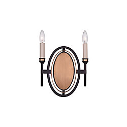 Aurea 10-inch 2 Light Wall Sconce with Golden Brown Finish