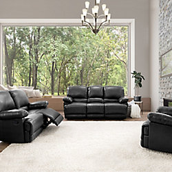 Corliving 3-Piece Lea Black Bonded Leather Reclining Sofa Set