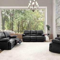 Corliving 3-Piece Lea Black Bonded Leather Reclining Sofa Set
