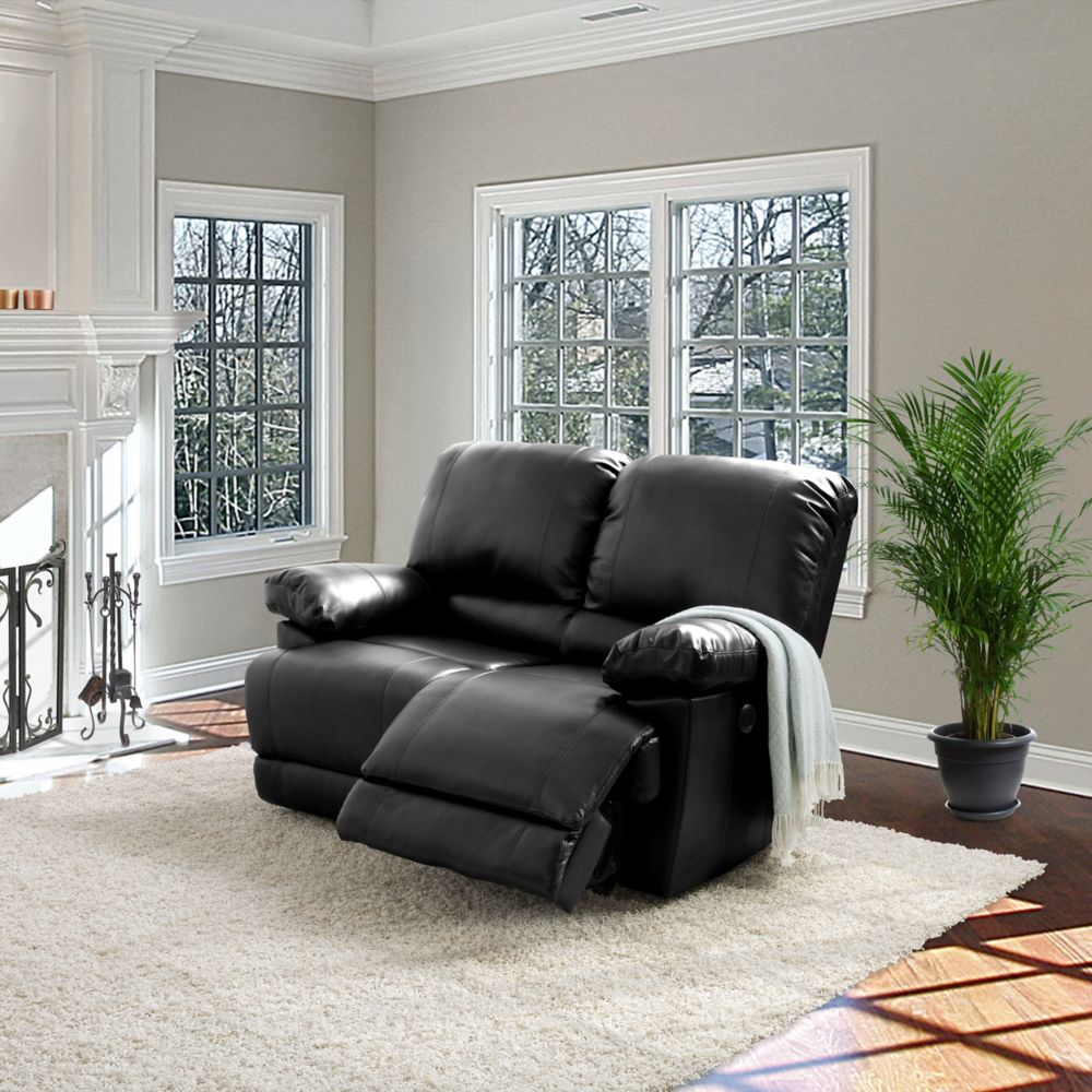 Corliving Lea Black Bonded Leather Power Reclining Loveseat With USB Port