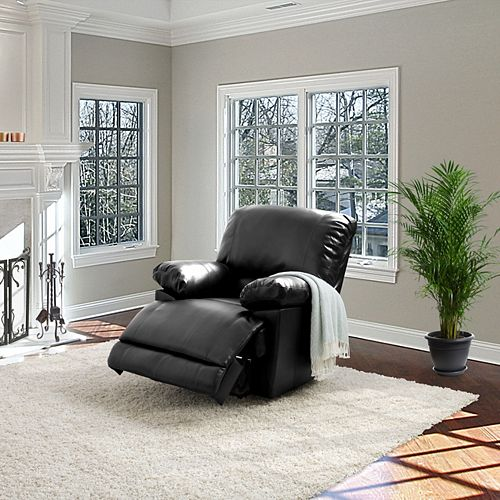 Corliving Lea Black Bonded Leather Power Recliner With USB Port