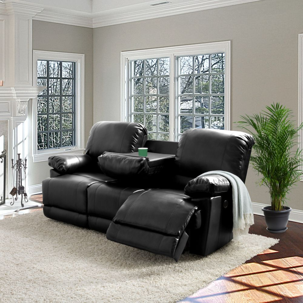 Corliving Lea Black Bonded Leather Power Reclining Sofa With USB Port