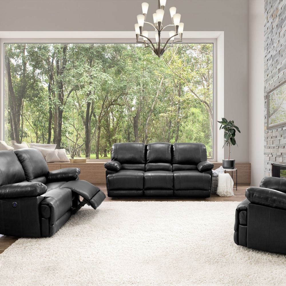 Corliving Lea Black Bonded Leather Power Recliner 3-Piece Sofa and Chair Set