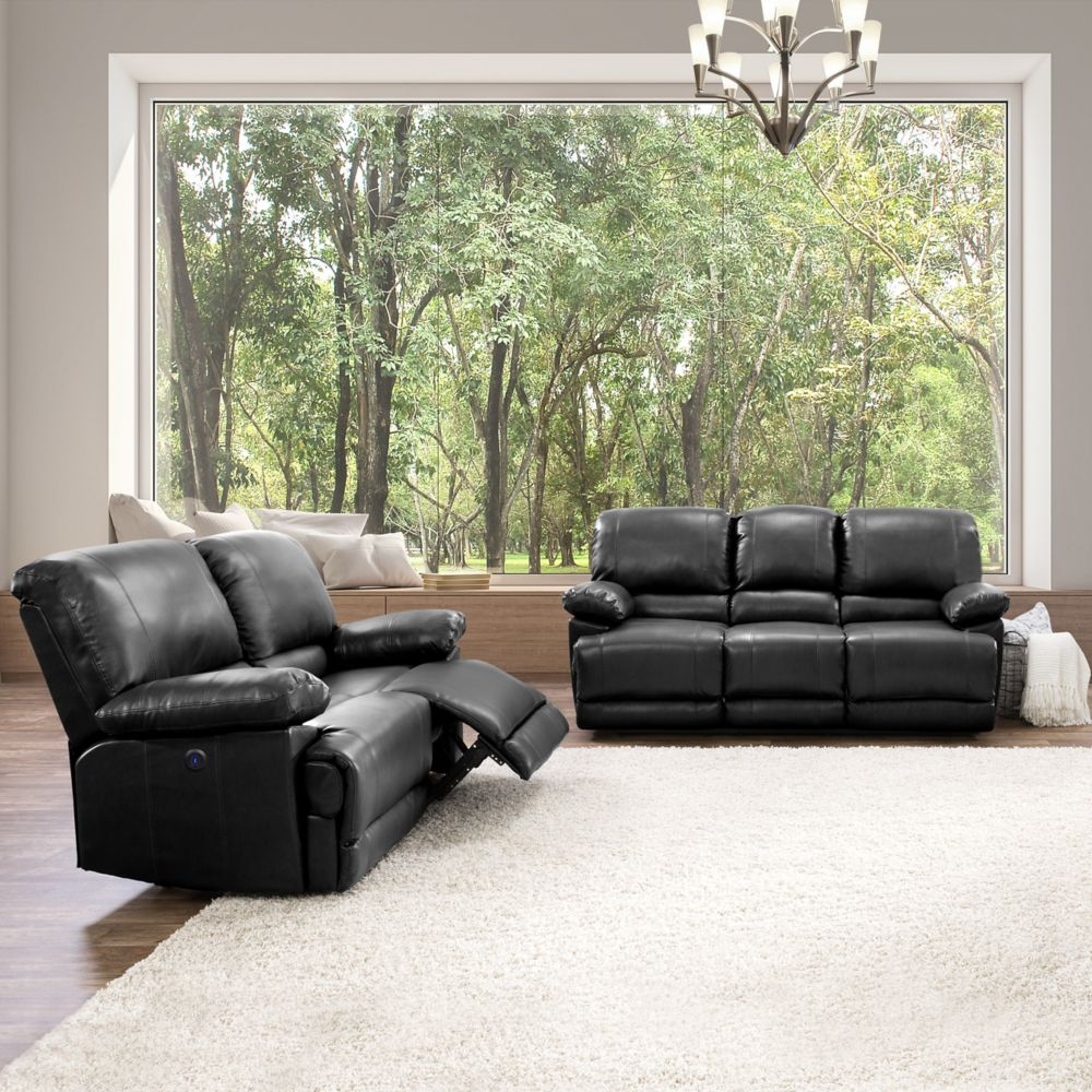 Corliving Lea Black Bonded Leather Power Recliner 2-Piece Sofa and Chair Set