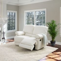 Corliving Lea White Bonded Leather Reclining Loveseat