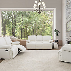 Corliving 3-Piece Lea White Bonded Leather Reclining Sofa Set