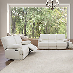 Corliving 2-Piece Lea White Bonded Leather Reclining Sofa Set
