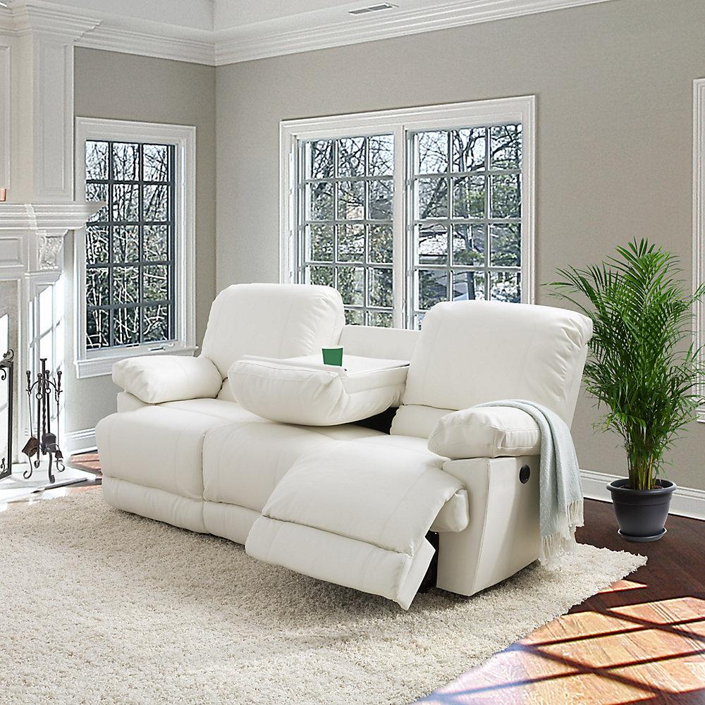 Phenomenal Lea White Bonded Leather Power Reclining Sofa With Usb Port Interior Design Ideas Apansoteloinfo
