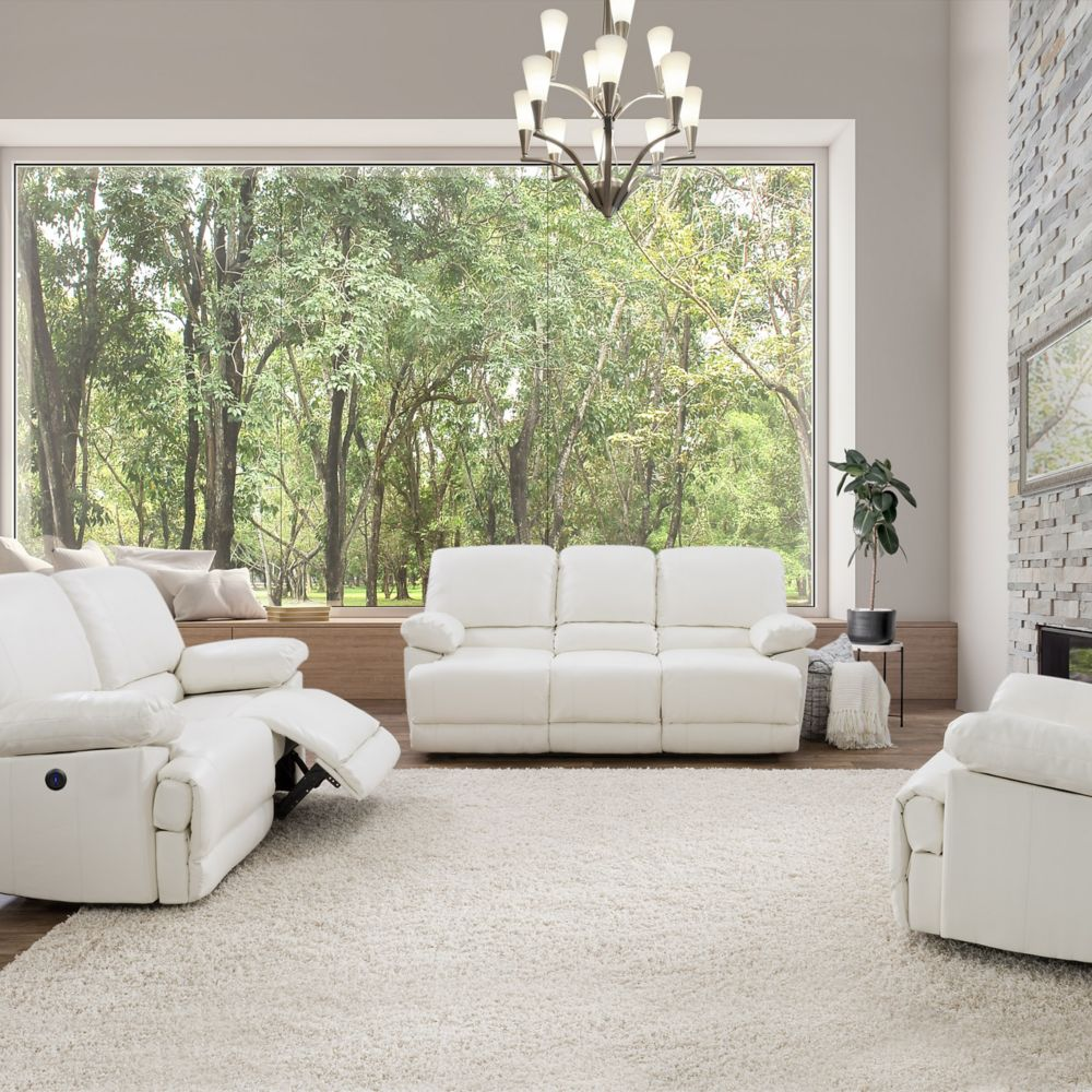 Corliving Lea White Bonded Leather Power Recliner 3-Piece Sofa and Chair Set