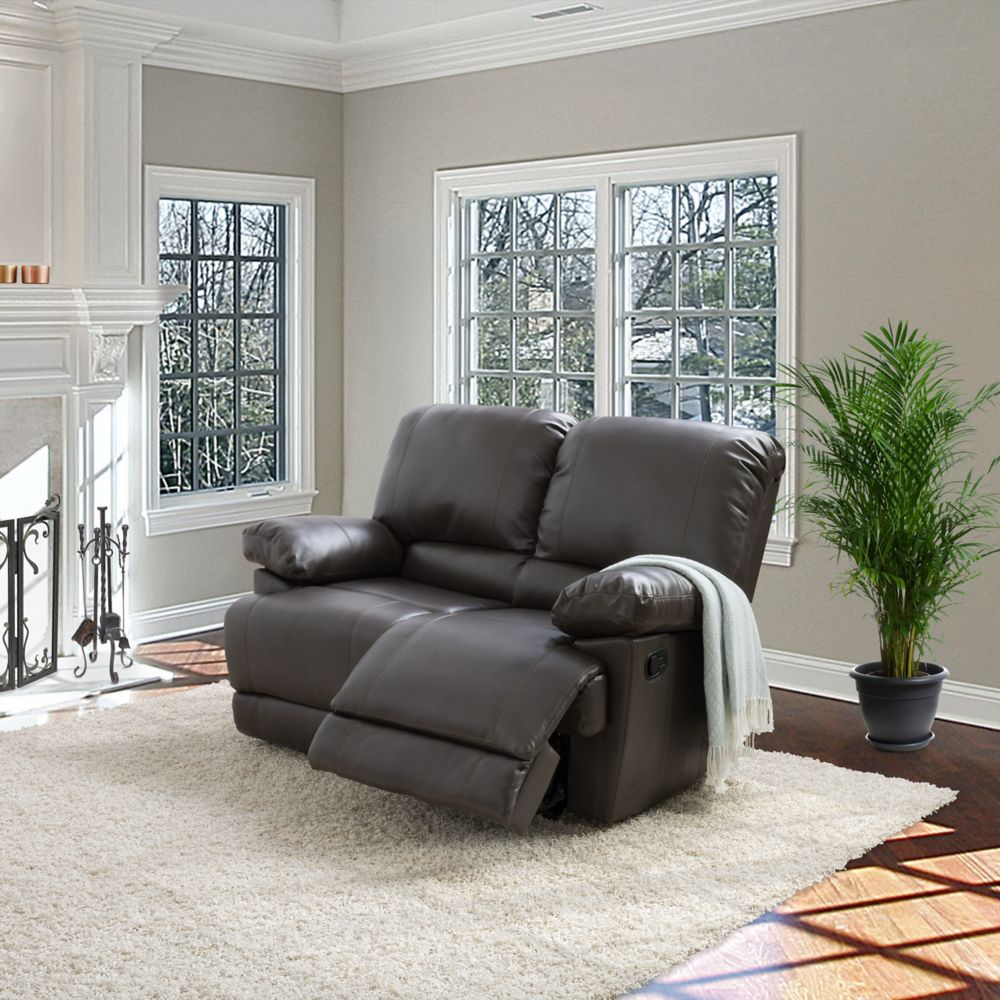 Corliving Lea Brownish-Grey Bonded Leather Reclining Loveseat