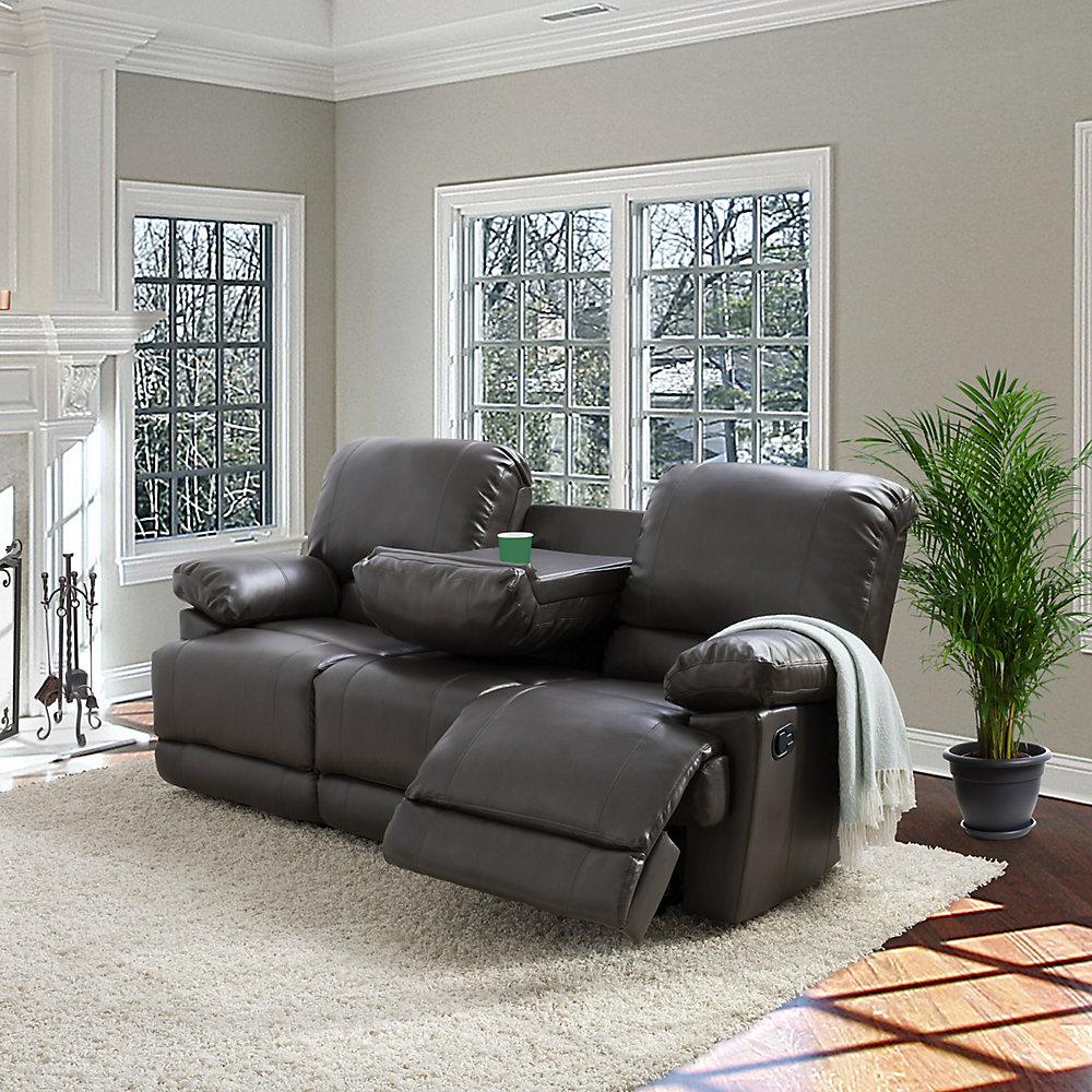 Pleasing Lea Brownish Grey Bonded Leather Reclining Sofa Interior Design Ideas Apansoteloinfo