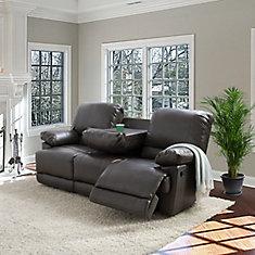 Sofa inclinable Lea en cuir reconstitué gris-brun
